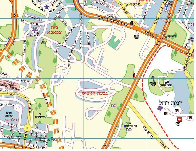 The Green Map on the Jerusalem City Map